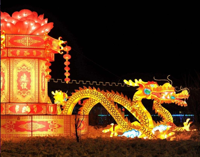 龙型传统彩灯制作