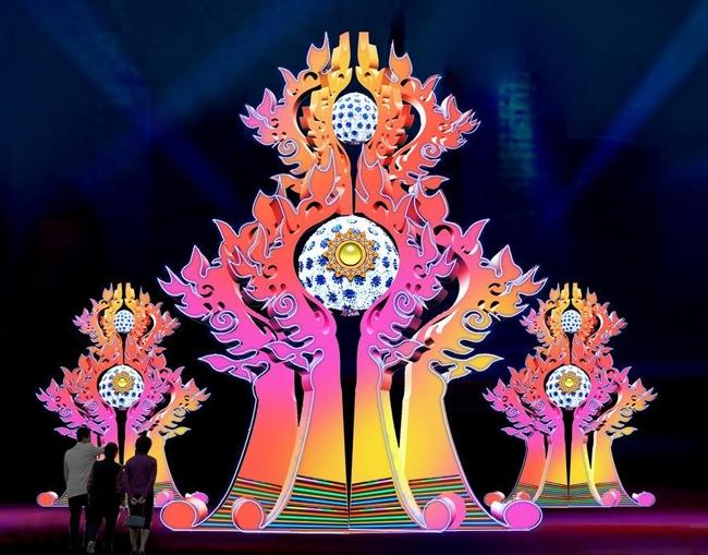节庆广场彩灯施工案例